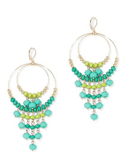 Green Beaded Hoop Drop Earring - New York & Company