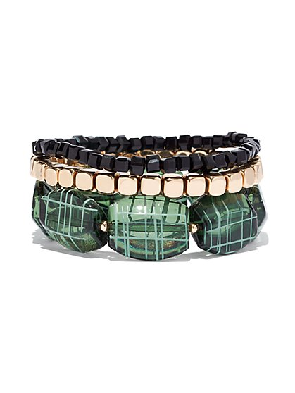 Green Beaded Stretch Bracelet - New York & Company