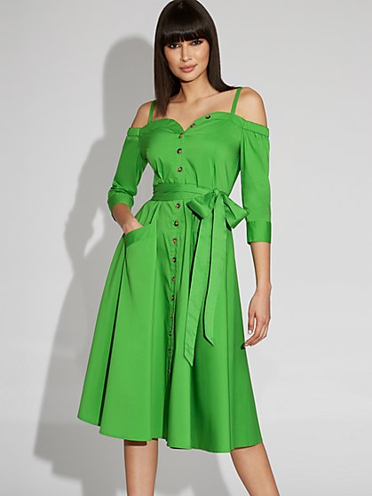 Green Cold-Shoulder Poplin Shirtdress - Gabrielle Union Collection - New York & Company