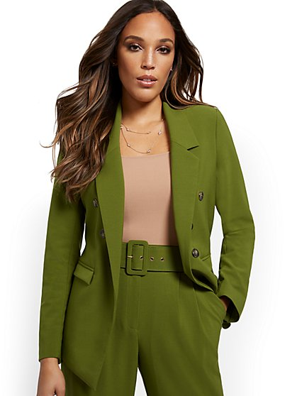 Green Double-Breasted Jacket - Double Stretch - New York & Company