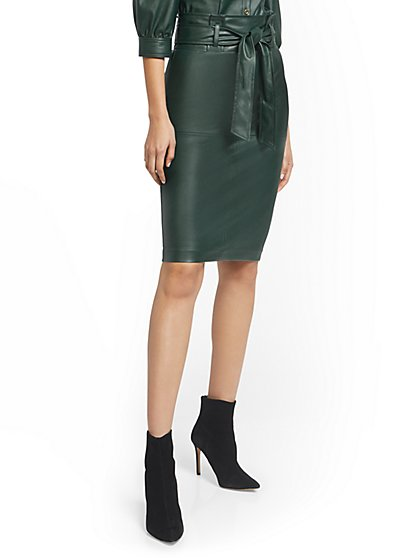 Green Faux-Leather Pencil Skirt - 7th Avenue - New York & Company