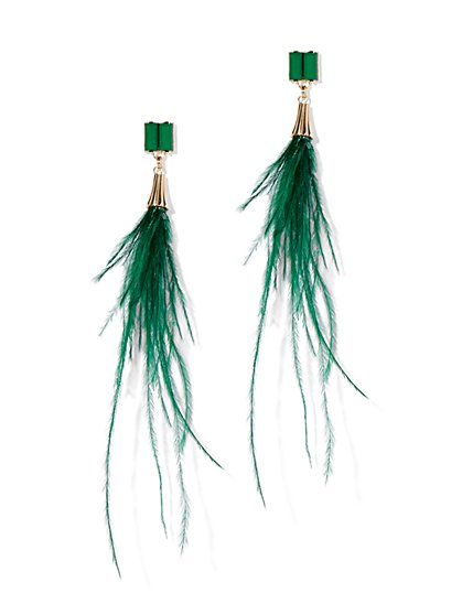Green Feather Linear Drop Earring - New York & Company