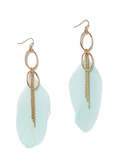 Green Feather & Link Drop Earring - New York & Company