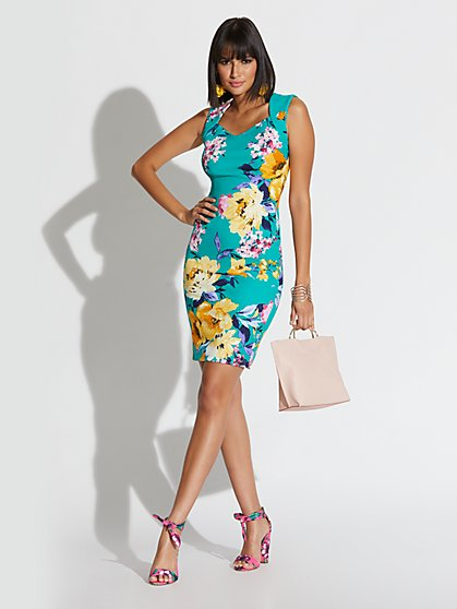 Green Floral Sheath Dress - Magic Crepe - New York & Company