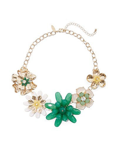 Green Floral Statement Necklace - New York & Company