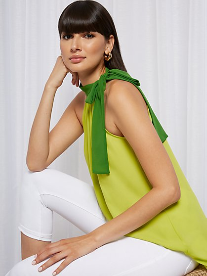 Green Hi-Lo Halter Top - Sweet Pea - New York & Company