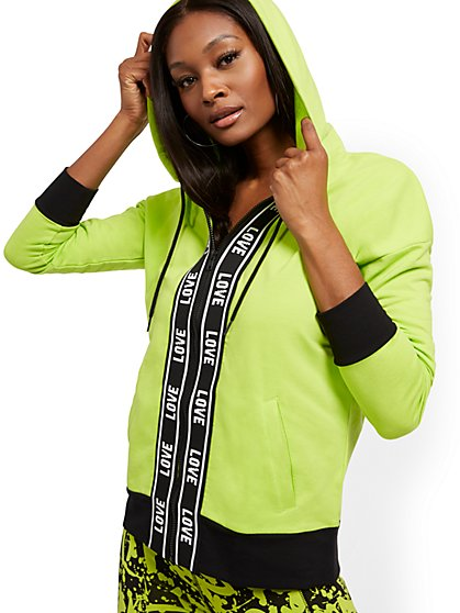 "Green ""Love"" Hooded Zip-Front Jacket - Soho Street - New York & Company"