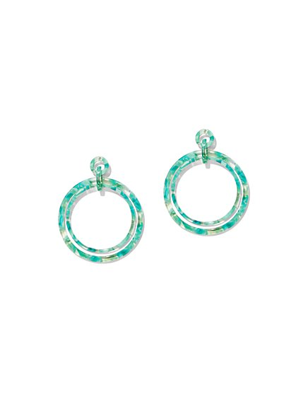Green Marbleized Hoop Drop Earring - New York & Company