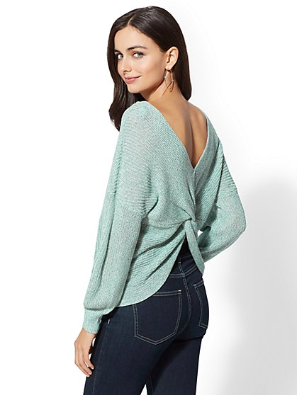 Green Marled Reversible Twist-Detail Sweater - New York & Company