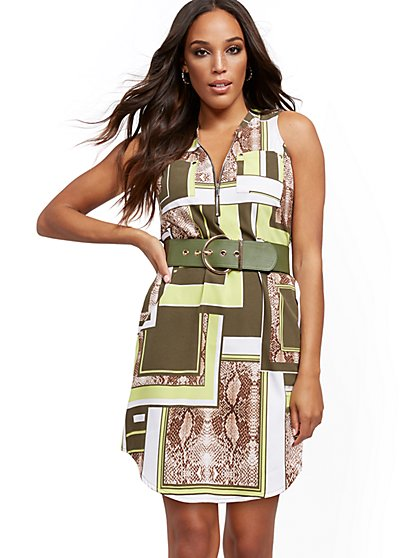 Green Mixed Snake-Print Belted Shirtdress - New York & Company