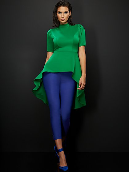 Green Mock-Neck High-Low Top - New York & Company