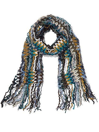 Green Multi Yarn Fringe Scarf - Sweet Pea - New York & Company
