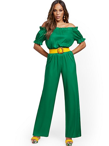 Green Off-The-Shoulder Jumpsuit - New York & Company