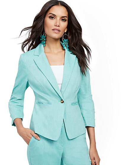 Green One-Button Jacket - Linen Blend - New York & Company