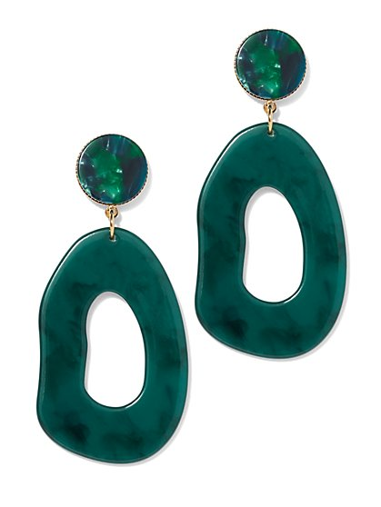 Green Open Oval Drop Earring - New York & Company