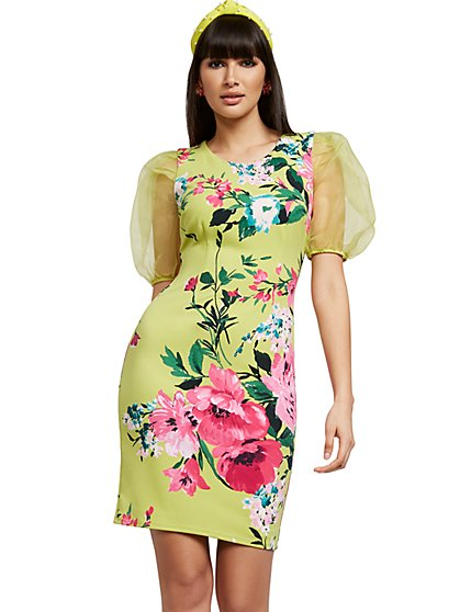 Green Organza-Sleeve Sheath Dress - Magic Crepe® - New York & Company