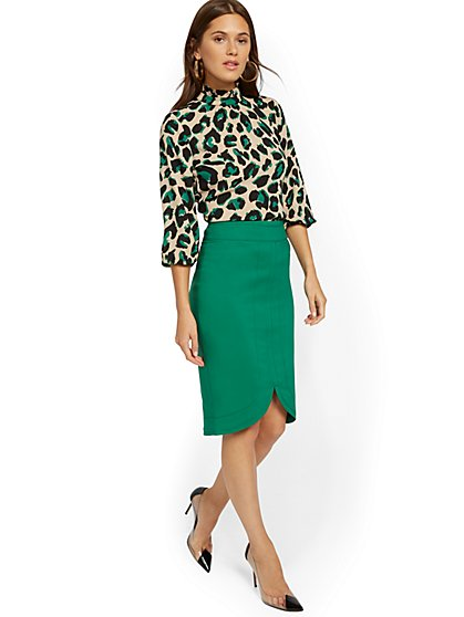 Green Pencil Skirt - All-Season Stretch - 7th Avenue - New York & Company