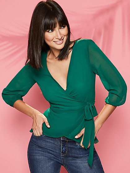Green Peplum Wrap Blouse - Sweet Pea - New York & Company