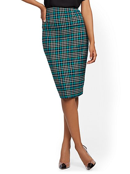 Green Plaid Pencil Skirt - 7th Avenue - New York & Company