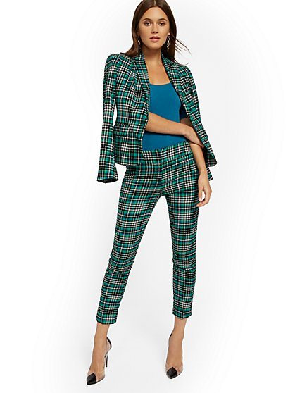 Green Plaid Slim Ankle Pant - Modern - 7th Avenue - New York & Company