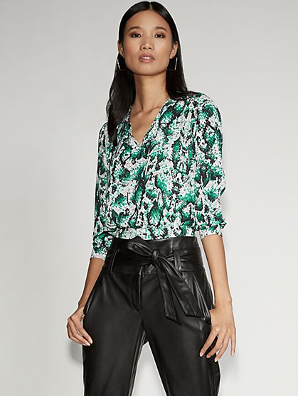 Green Print V-Neck Tie-Back Blouse -Gabrielle Union Collection - New York & Company