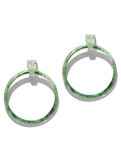 Green Resin Hoop Drop Earring - New York & Company