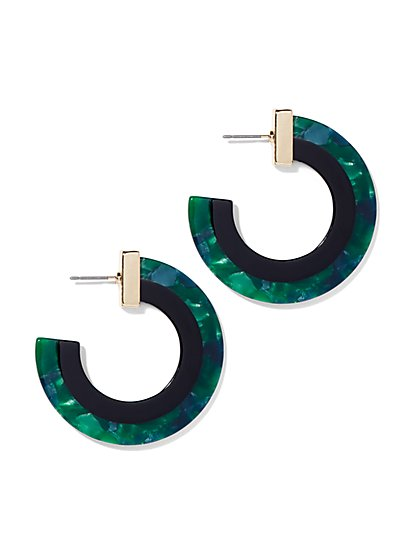 Green Resin Hoop Earring - New York & Company