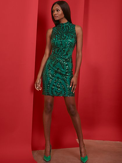 Green Sequin Sheath Dress - New York & Company