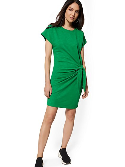 Green Side-Tie Shift Dress - Soho Street - New York & Company