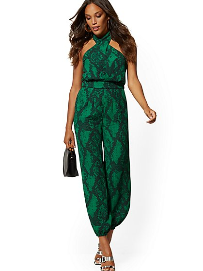 Green Snake-Print Halter Jumpsuit - New York & Company