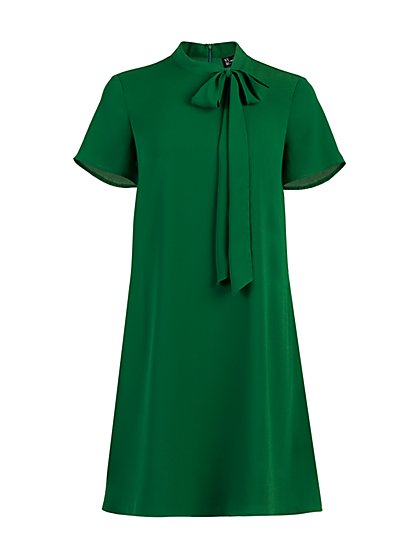 Green Tie-Front Shift Dress - New York & Company
