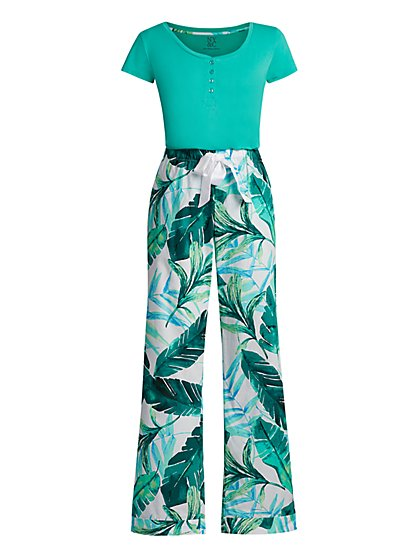 Green Tropical-Print Pajama Set - New York & Company