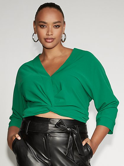 Green Twist-Front Blouse - Gabrielle Union Collection - New York & Company