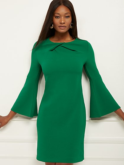 Green Twist-Front Sheath Dress - New York & Company