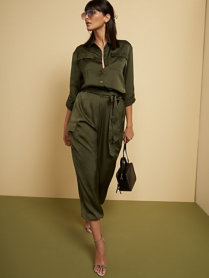 Green Utility Cargo Jumpsuit - New York & Company
