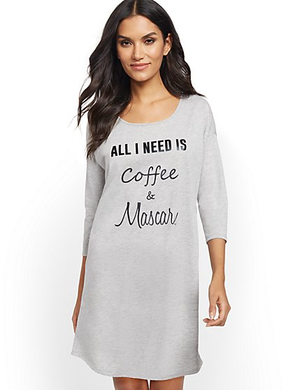 "Grey ""Coffee & Mascara"" Sleep Dress - New York & Company"