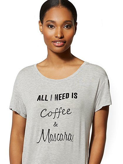 "Grey ""Coffee & Mascara"" Sleep Tee - New York & Company"