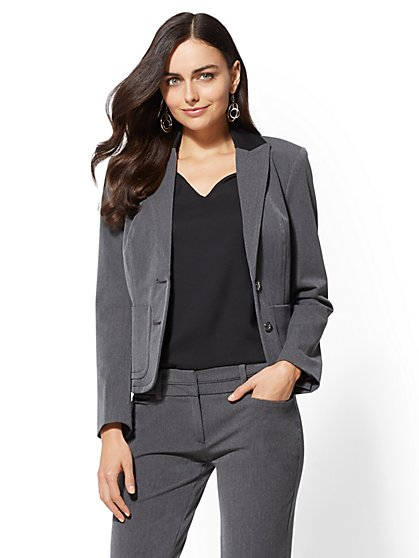 Grey Contrast-Trim One-Button Jacket - 7th Avenue - New York & Company