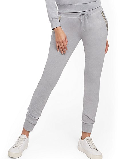 Grey Embellished Jogger Pant - Soho Street - New York & Company