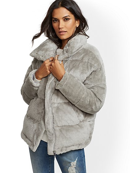 Grey Faux-Fur Quilted Coat - New York & Company