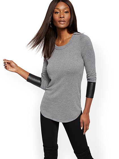 Grey Faux-Leather Cuff Sweater - New York & Company
