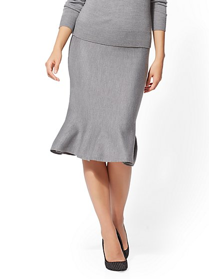 Grey Flounced Sweater Skirt - New York & Company