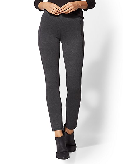 Grey High-Waist Ponte Pull-On Pant- Soho Jeans - New York & Company