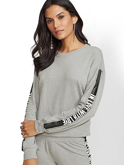 "Grey ""In Love with Love"" Sweatshirt - Soho Street - New York & Company"
