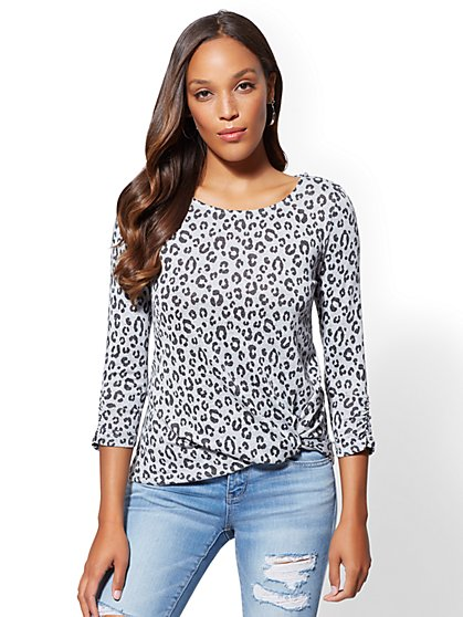 Grey Leopard-Print Twist-Front Hacci Knit Top - New York & Company