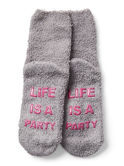 "Grey ""Life is a Party"" Cozy Sock - New York & Company"