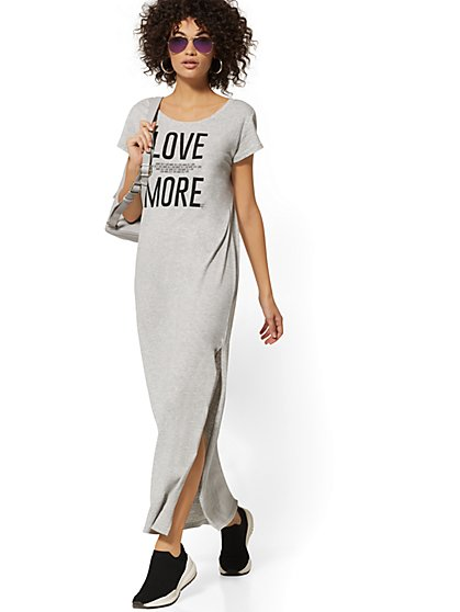 "Grey ""Love More"" Maxi Tee - Soho Street - New York & Company"