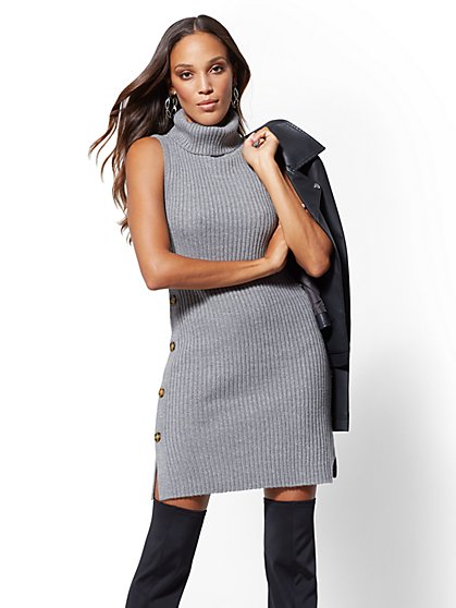 Grey Metallic Turtleneck Sweater Dress - New York & Company
