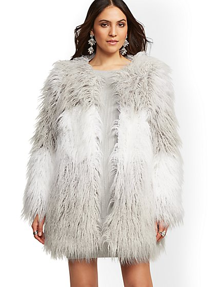 Grey Ombre Faux-Fur Coat - New York & Company