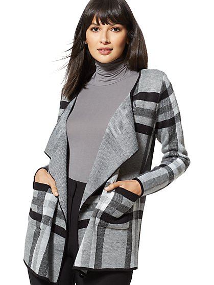 Grey Plaid Flyaway Cardigan - New York & Company
